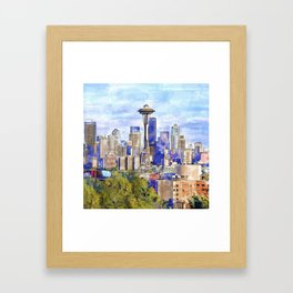 Seattle View in watercolor Framed Art Print