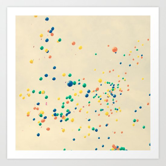 All the magic between you and me ( many colour balloons flying in a retro sky) Art Print