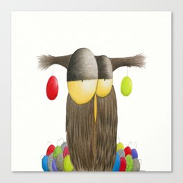 Cute Holiday Owl Illustration Canvas Print