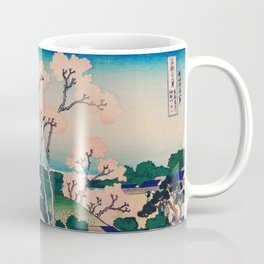 Traditional Classic Japanese Landscape Drawing With Pink Flower Coffee Mug