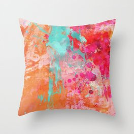 Paint Splatter Turquoise Orange And Pink Throw Pillow