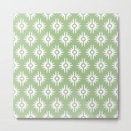 Mid Century Modern Bang Pattern 271 Nile Green Metal Print
