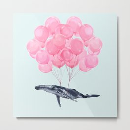 Flying Whale with Pink balloons #1 Metal Print