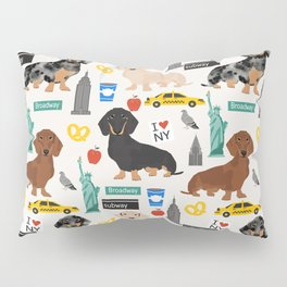 Dachshund dog breed NYC new york city pet pattern doxie coats dapple merle red black and tan Pillow Sham