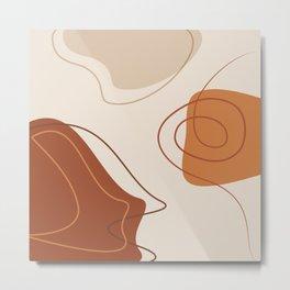 42118-10-2, Burnt Orange, Brown & Beige, Abstract Geometric Shape Line Art, Trendy home decor, Metal Print