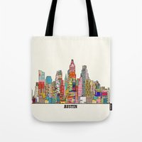 austin Tote Bags featuring Austin texas by bri.buckley