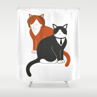 mulder Shower Curtains featuring Mulder and Scully (Important Cats #2) by Catrina and Mouse