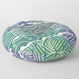 Wavy Tribal Lines with Shapes - Green Blue White Floor Pillow