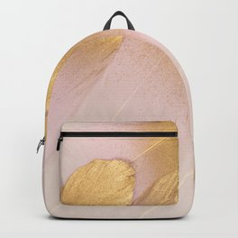 Gold Tipped Pink Feathers Backpack