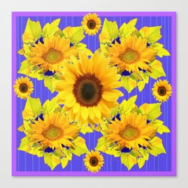 Golden Sunflower Pattern Floral Purple Shades Canvas Print