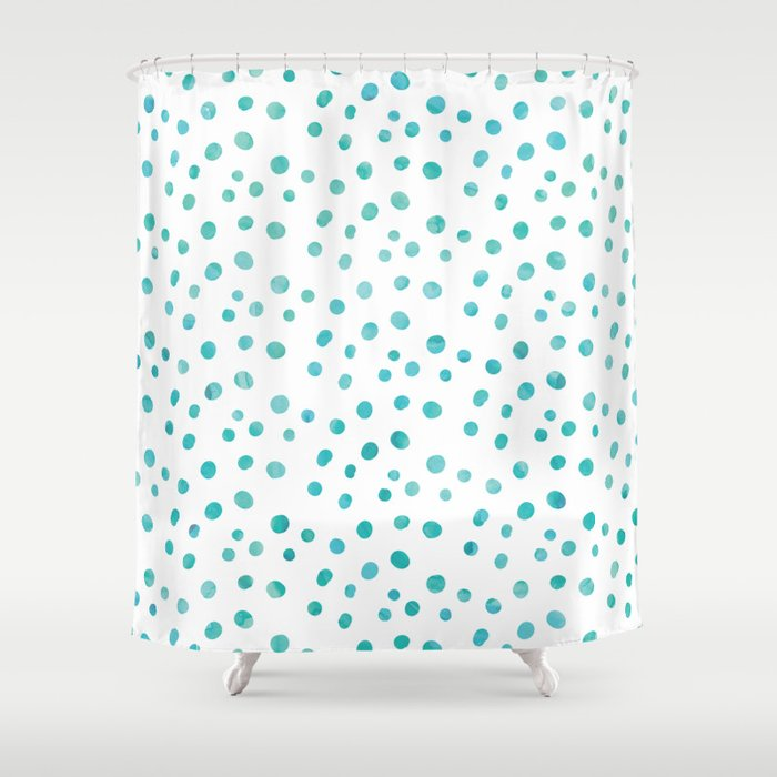 Small Blue Watercolor Abstract Polka Dots Shower Curtain by nicnak85 ...