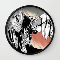 sons of anarchy Wall Clocks featuring Sons of Anarchy - Jax by Averagejoeart