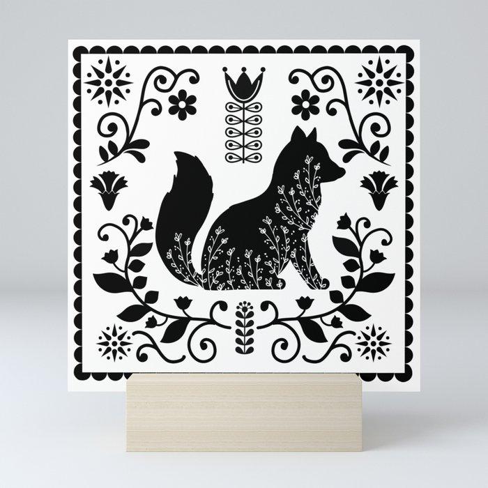 Woodland Folk Black And White Fox Tile Mini Art Print