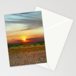 Red poppies and bluebells amid the setting sun Stationery Cards