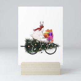 Llama Bringing Home Christmas Tree Mini Art Print