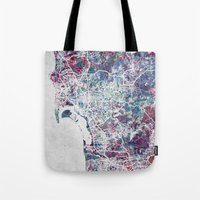 san diego Tote Bags featuring San Diego map by MapMapMaps.Watercolors