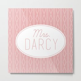 Mrs. Darcy - Soft Pink Metal Print