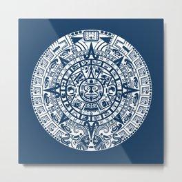 Mayan Calendar // Navy Blue Metal Print