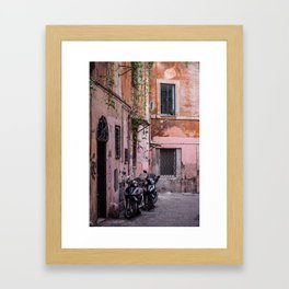 Motorbikes on the Streets of Rome, Italy Framed Art Print