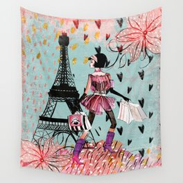 Fashion girl in Paris - Shopping at the EiffelTower Wall Tapestry