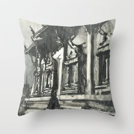 Buddhist temple of Wat Pra Singh in the city of Chiang Mai, Thailand.  Buddhist wat Throw Pillow