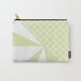 Geometric green white quatrefoil color block pattern Carry-All Pouch