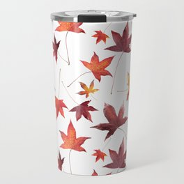 Dead Leaves over White Travel Mug