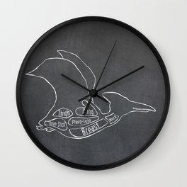 Pterodactyl Dinosaur (A.K.A Flying Reptile - Pterodactylus) Butcher Meat Diagram Wall Clock