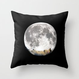 Sleeping cat with the Moon Throw Pillow
