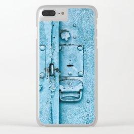 Old metal hasp on locked door Clear iPhone Case