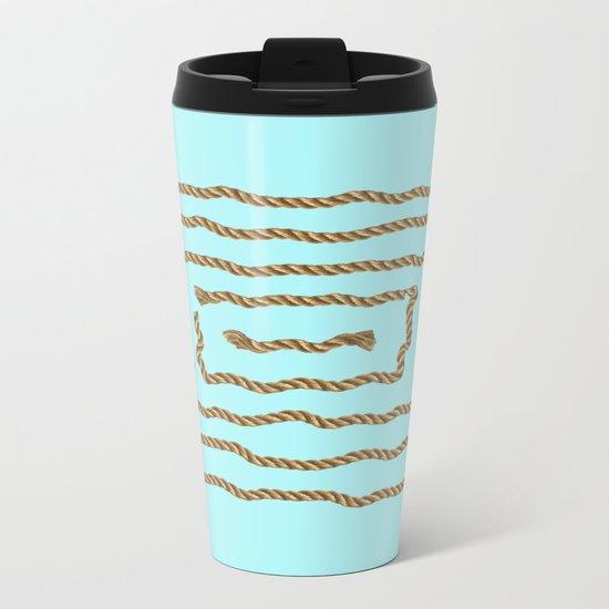 Beach Series Aqua -Maritime Nautical Rope Knot on #Society6 Metal Travel Mug