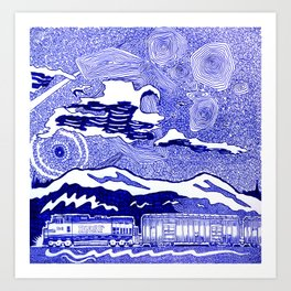 Freight train in New Westminster, British Columbia Art Print