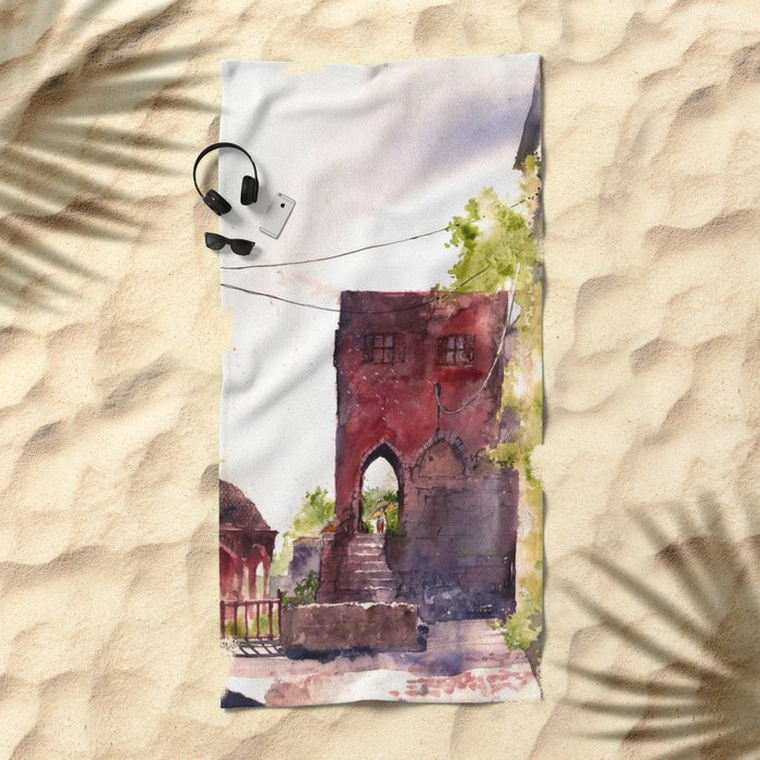 Rhodes old town streets Beach Towel