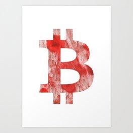 Bitcoin Red Pink streaked wash drawing Art Print