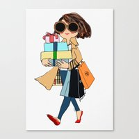 shopping Canvas Prints featuring shopping by penpun
