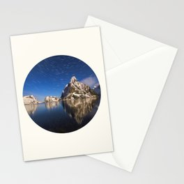 Mid Century Modern Round Circle Photo Graphic Design Swirling Star Sky Above Mountains Stationery Cards