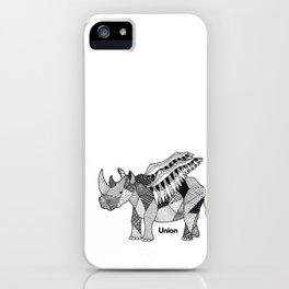 Illustrated Rhino – Union – Black iPhone Case