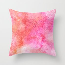 Abstract blush pink lilac orange hand painted watercolor Throw Pillow