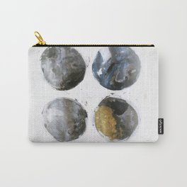 Four circles black,blue and gold marble texure artprint illustration Carry-All Pouch