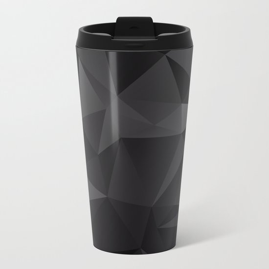 Abstract of triangles polygo in black colors Metal Travel Mug