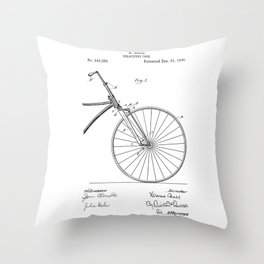 patent art Bell Velocipede fork 1890 Throw Pillow