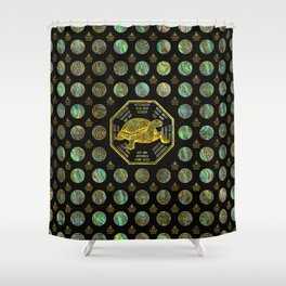 Golden Tortoise / Turtle Feng Shui Abalone Shell Shower Curtain