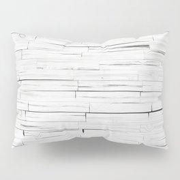 White Wooden Planks Wall Pillow Sham