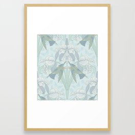 Art Nouveau Hummingbird and Irises Framed Art Print