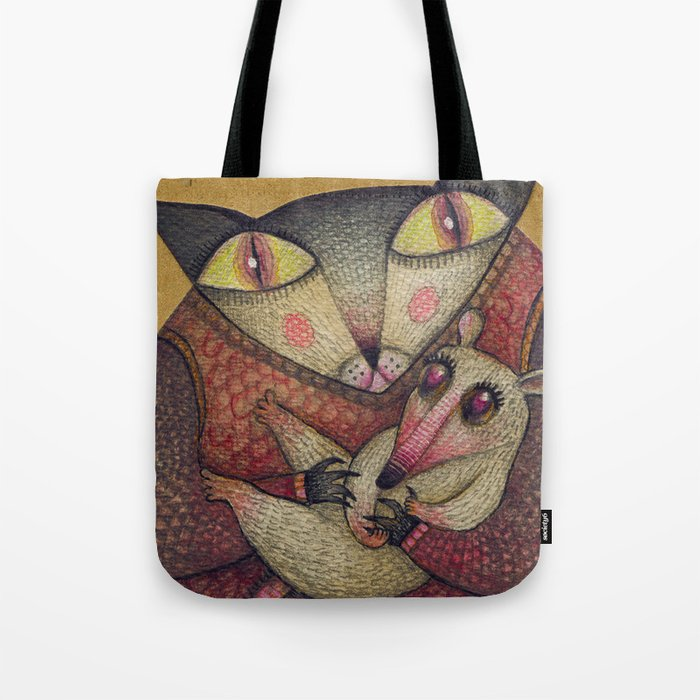 Little orphaned rat adopted by Mother Cat Tote Bag
