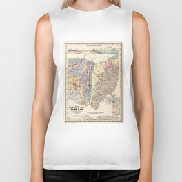 Vintage Geological Map of Ohio (1872) Biker Tank