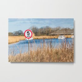 Speed control on the River Thurne, Norfolk Broads Metal Print