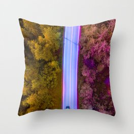 the purple road in the forest Throw Pillow