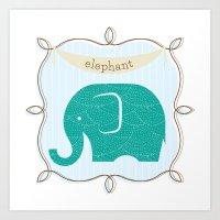 Fun at the Zoo: Elephant Art Print