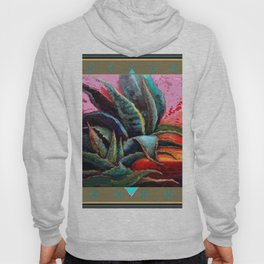 PUTTY COLOR ART DECO SOUTHWEST DESERT AGAVE Hoody